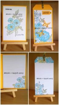 Carte et tag - Fleurs et Neocolor - Montage